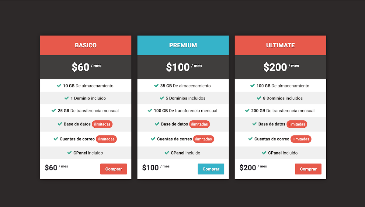 A just simple pricing table
