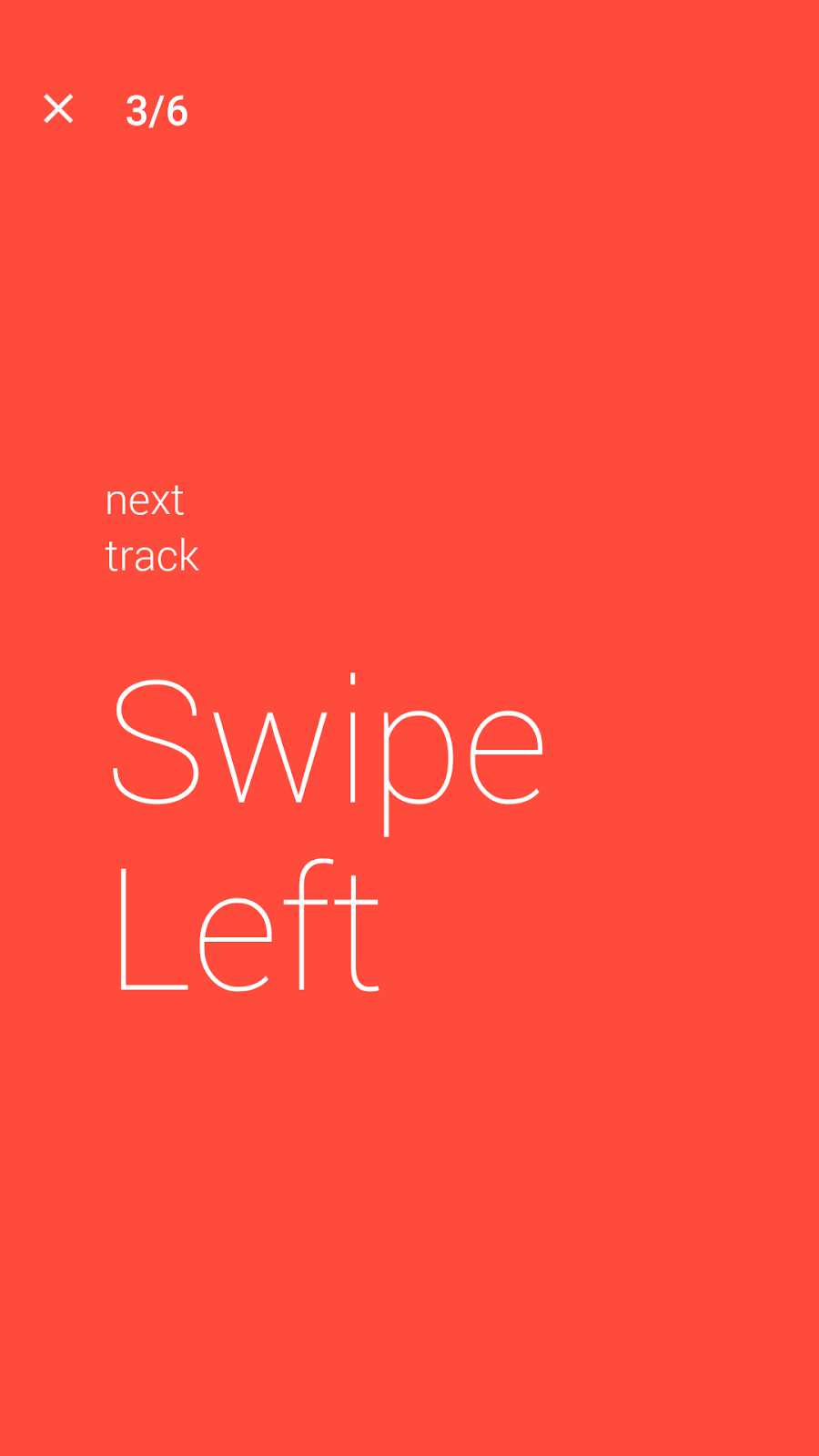 Swipe Left for previous track