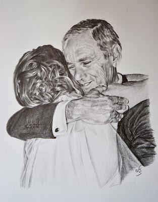 Retrato a lápiz. el abrazo de un padre a su hija