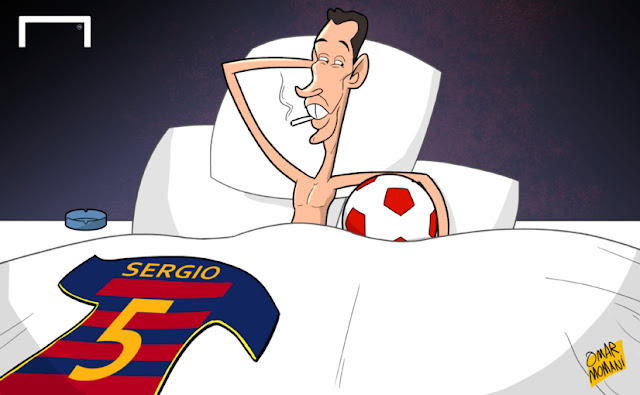 Sergio Busquets having sex with football cartoon