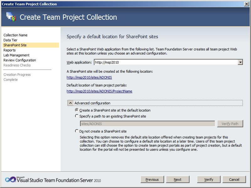 How to Create a New Team Project Collection in TFS2010 Step