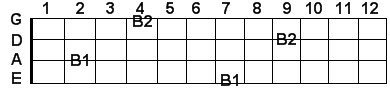 B bass guitar notes in scientific pitch notation