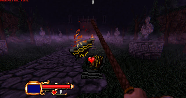 the player breaks a torch to get a heart.