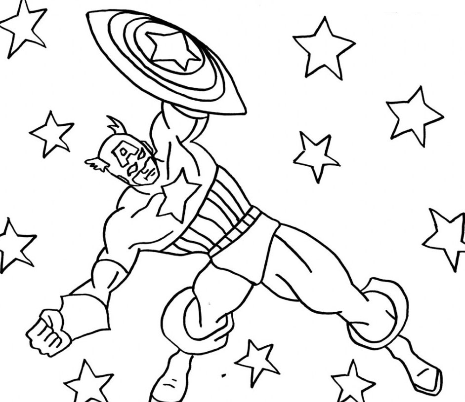 captain america color page - captin america free colouring pages