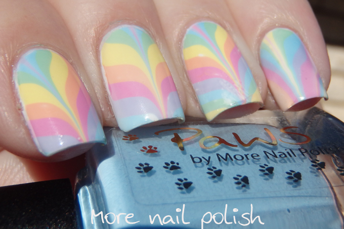 Pastel rainbow water marble with some tips and tricks ~ More Nail Polish
