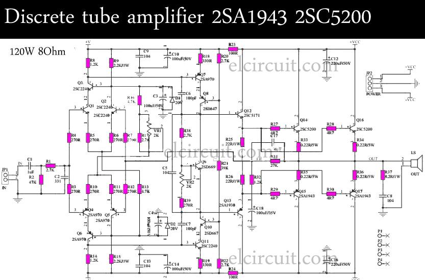 discrete tube amplifier 2sa1943 2sc5200