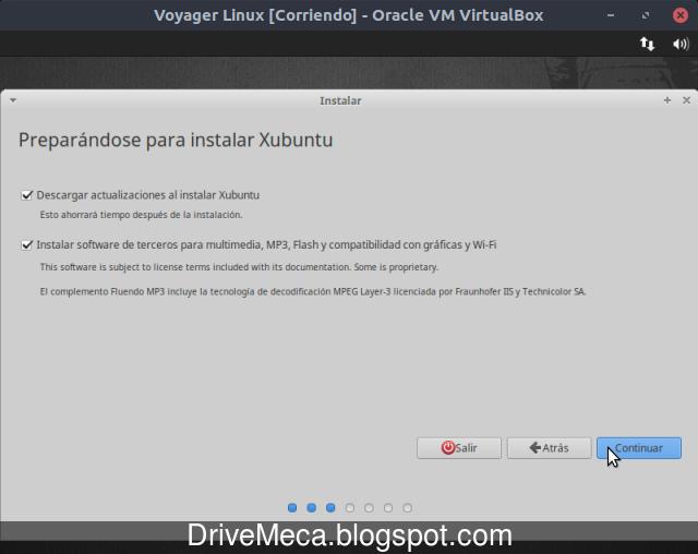 Activamos la descarga de actualizaciones y drivers en Voyager Linux