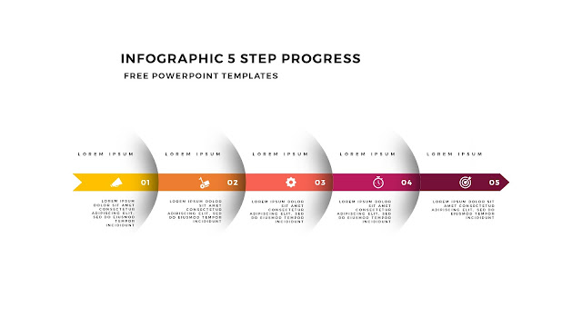Infographic 5 Step Progress Arrow Diagrams for PowerPoint Template Slide 1