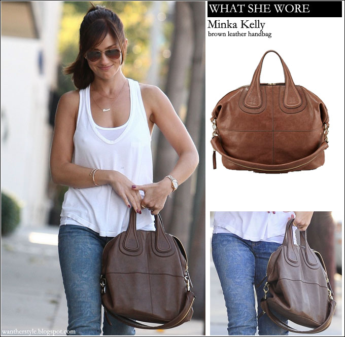 a470670e84db WHAT SHE WORE  Minka Kelly with brown leather Givenchy handbag ~ I want her  style - What celebrities wore and where to buy it. Celebrity Style