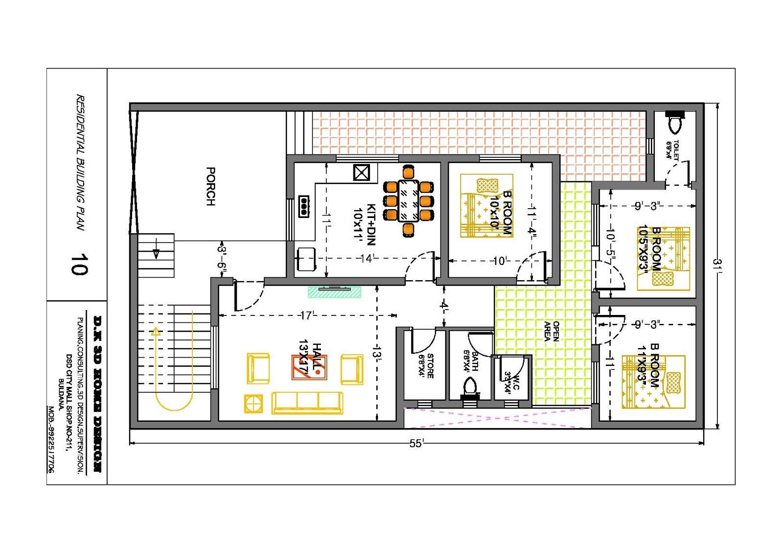 31 x 55 feet home plan - Home Planing