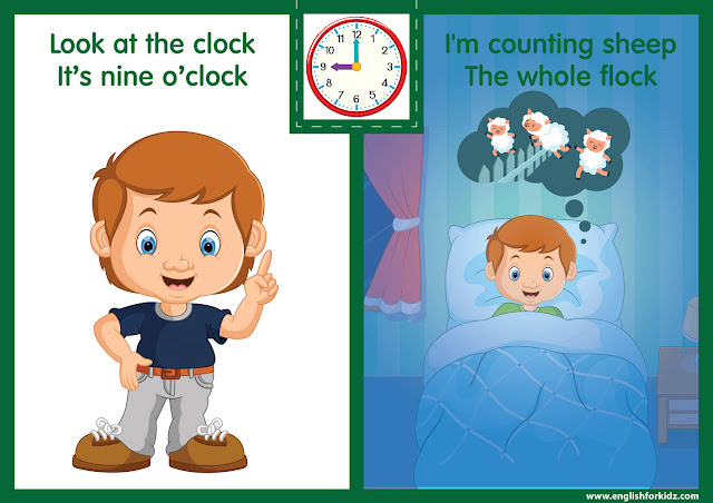 Telling the time worksheet - nine o'clock on the clock - printable ESL resources