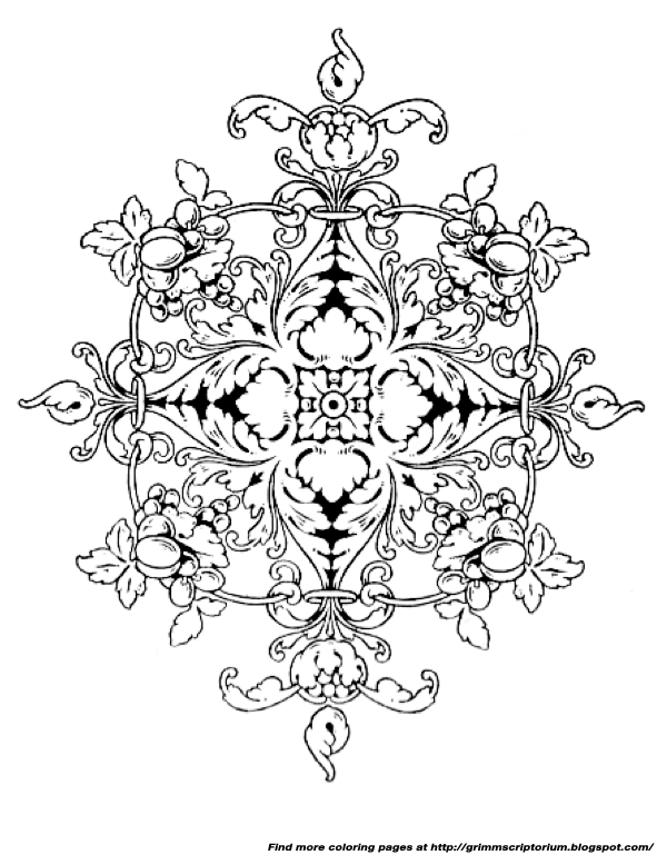 Adult Coloring Page Arabesque Motif With Grapes