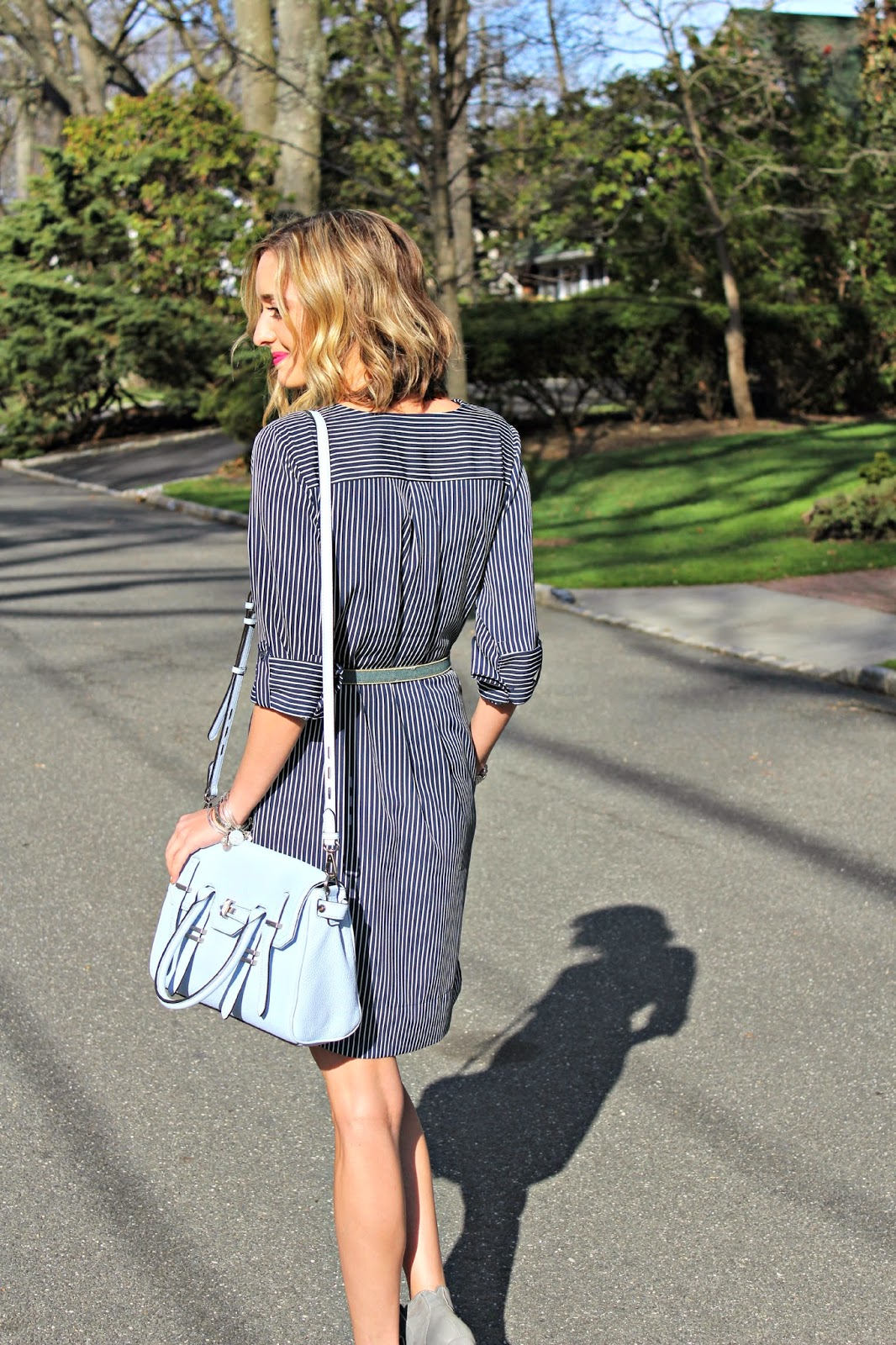 pinstripe back shirtdress LOFT