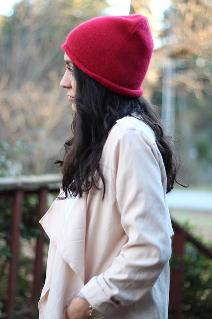 red beanie waterfall trenchoat outfit