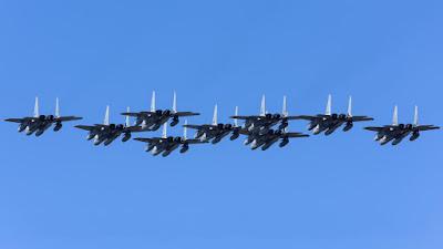 Cazabombarderos McDonnell Douglas F-15J Eagle de la Fuerza Aérea de Japón.