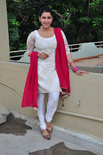 Busty Mannara Chopra in White Salwar Suit Sexy Cute Beautiful Pics at Thikka movie press meet