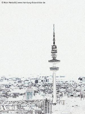 Fernsehturm Hamburg, Konturen,Umriss, schwarz weiss, Silhouette