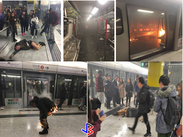 "At least 15 people are injured in blaze as man attempts to throw ""Molotov cocktail"" , a bottle filled with gasoline or any highly flammable liquid, on Hong Kong MTR Train in a rush hour. A video captured after fire breaks out on board the train at TST Station on Friday evening 10 Feb 2017 shows the extent of the blast.    According to police, an initial information shows  that there were flames and smoke on board the train at the Tsim Sha Tsui Station at 7.14pm,. ""A man tried to hurl a lit Molotov cocktail (petrol bomb) on board a packed train when it was about to reach TST platform and he caught fire,"" the police said.  The  Chinese man who sustained severe burns was escorted by police to Queen Elizabeth Hospital after the incident. ""Extra travelling time can be expected on the Tsuen Wan Line. Please allow more time for travel. More details to follow,"" the MTR said in a statement on their official website.  They  said that no trains would be  stopping at Tsim Sha Tsui MTR station because of the incident.  ""MTR staff are handling the situation,"" MTR said. About thirteen ambulances were mobilised. Four of the injured were sent to Kwong Wah Hospital, one was sent to Caritas Medical Centre, and another was sent to Queen Elizabeth Hospital.    Police anti-terrorism officers, who were recently deployed to patrol the city's railway network for the first time to beef up security in response to global terrorist attacks, have been sent to the scene.  Trains from Central to and from Tsuen Wan station will be operating at five minute intervals.    ""A free MTR shuttle bus service is operating between Tsim Sha Tsui Station and Yau Ma Tei Station, through Jordan Station; or please consider using other transport,"" the MTR said.  ***WARNING: Graphic images.    According to the reports, the first carriage of the train caught fire, which has been put out later. Interior designer Ray Chau, 27, said he was originally travelling to Mong Kok when he heard the captain announce that all passengers would have to get off at Tsim Sha Tsui Station. ""I saw [fire] two compartments away, there was a lot of smoke because ... smoke in one compartment quickly filled the entire train.""That train journey felt particularly long,"" he said. ""There was nothing we could do but to inhale the smoke."" ""One minute we were all playing with our phones, the next there was smoke everywhere. ""Some people thought there was an explosion, many people were screaming."" He recalled seeing a burned victim upon on the platform. Source: http://shanghaiist.com RECOMMENDED: ON JAKATIA PAWA'S EXECUTION: ""WE DID EVERYTHING.."" -DFA  BELLO ASSURES DECISION ON MORATORIUM MAY COME OUT ANYTIME SOON  SEN. JOEL VILLANUEVA  SUPPORTS DEPLOYMENT BAN ON HSWS IN KUWAIT  AT LEAST 71 OFWS ON DEATH ROW ABROAD  DEPLOYMENT MORATORIUM, NOW! -OFW GROUPS  BE CAREFUL HOW YOU TREAT YOUR HSWS  PRESIDENT DUTERTE WILL VISIT UAE AND KSA, HERE'S WHY  MANPOWER AGENCIES AND RECRUITMENT COMPANIES TO BE HIT DIRECTLY BY HSW DEPLOYMENT MORATORIUM IN KUWAIT  UAE TO START IMPLEMENTING 5%VAT STARTING 2018  REMEMBER THIS 7 THINGS IF YOU ARE APPLYING FOR HOUSEKEEPING JOB IN JAPAN  KENYA , THE LEAST TOXIC COUNTRY IN THE WORLD; SAUDI ARABIA, MOST TOXIC  ""JUNIOR CITIZEN ""  BILL TO BENEFIT POOR FAMILIES"