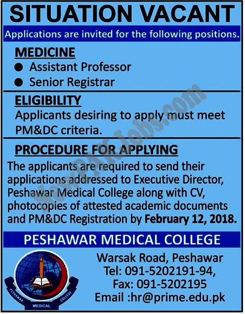 Peshawar Medical College Latest Jobs 1 Feb 2018