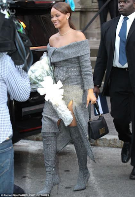 Rihanna dazzles in grey dress as she receives her Humanitarian of the Year award from Harvard University (Photos)