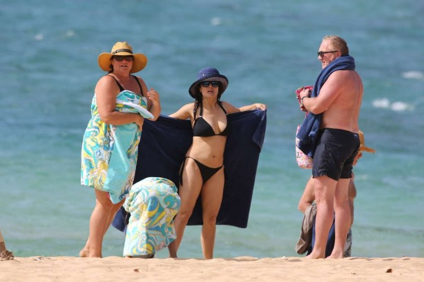 Celebrity in bikini: Salma Hayek at a Beach in Hawaii