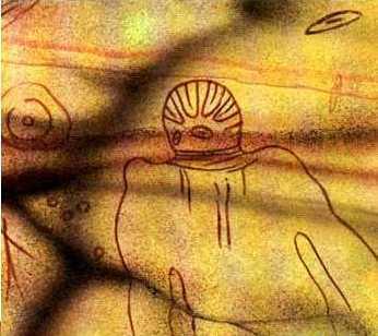 Hombre espacial con OVNI al fondo, pintado hace 12,000 años