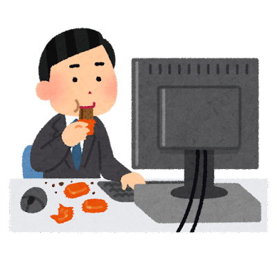 仕事中にお菓子を食べる人のイラスト(男性)