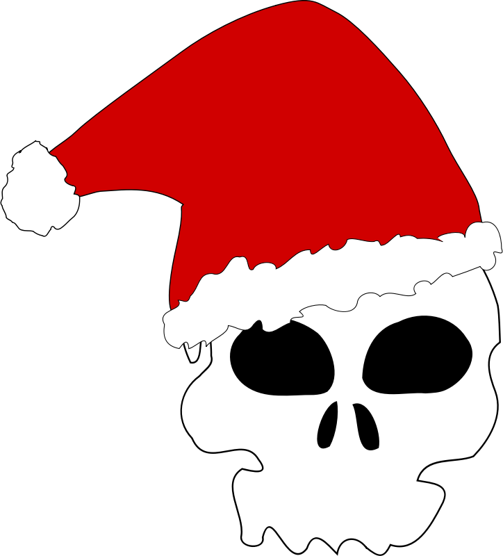A skull wearing a Santa Claus Hat.