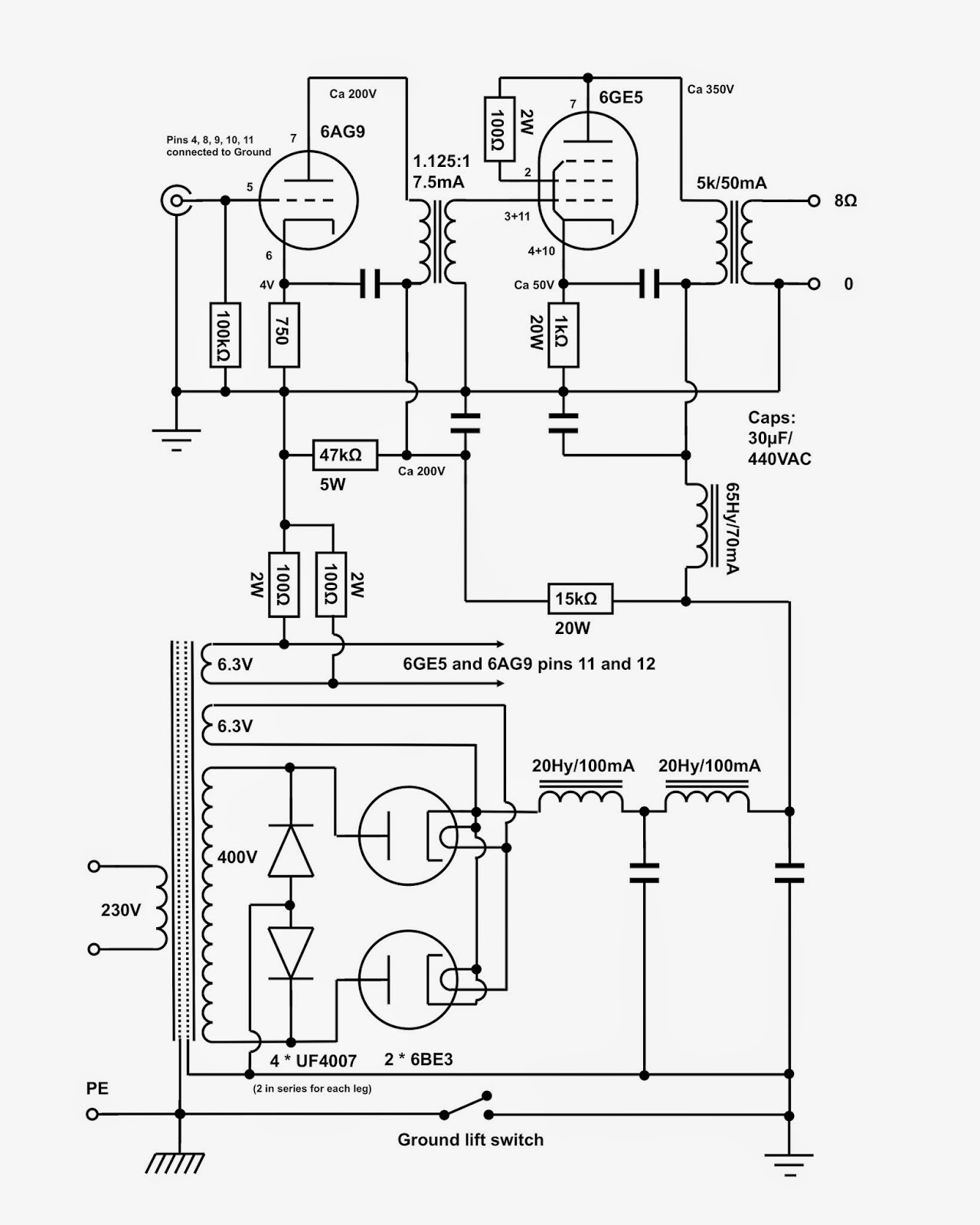 tube amp wiring diagram led tube light wiring diagram dual vinylsavor: 6ge5 mono amps, part 1 : circuit