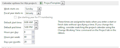 MS Project Change daily working time