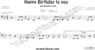 Violonchelo y Fagot Partitura de Happy birthday to you (Cumpleaños Feliz) Sheet Music for Cello and Bassoon Music Scores