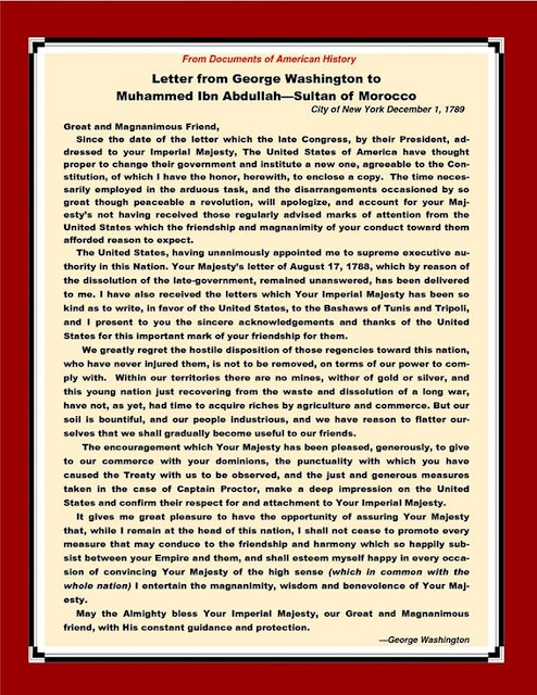 sultan of morocco, letter from washington, moorish american history
