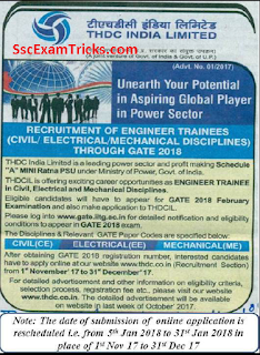 THDC India Limited Engineers Trainees Recruitment 2018