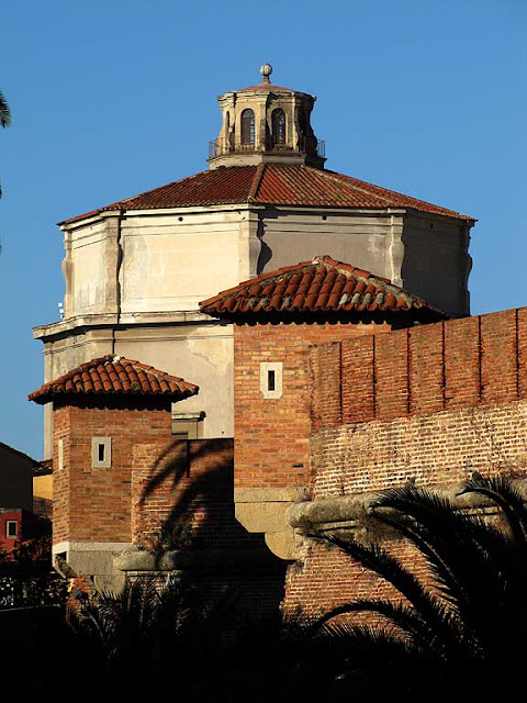 Turrets of the Fortezza Nuova with the dome of the church of Santa Caterina in background, Livorno