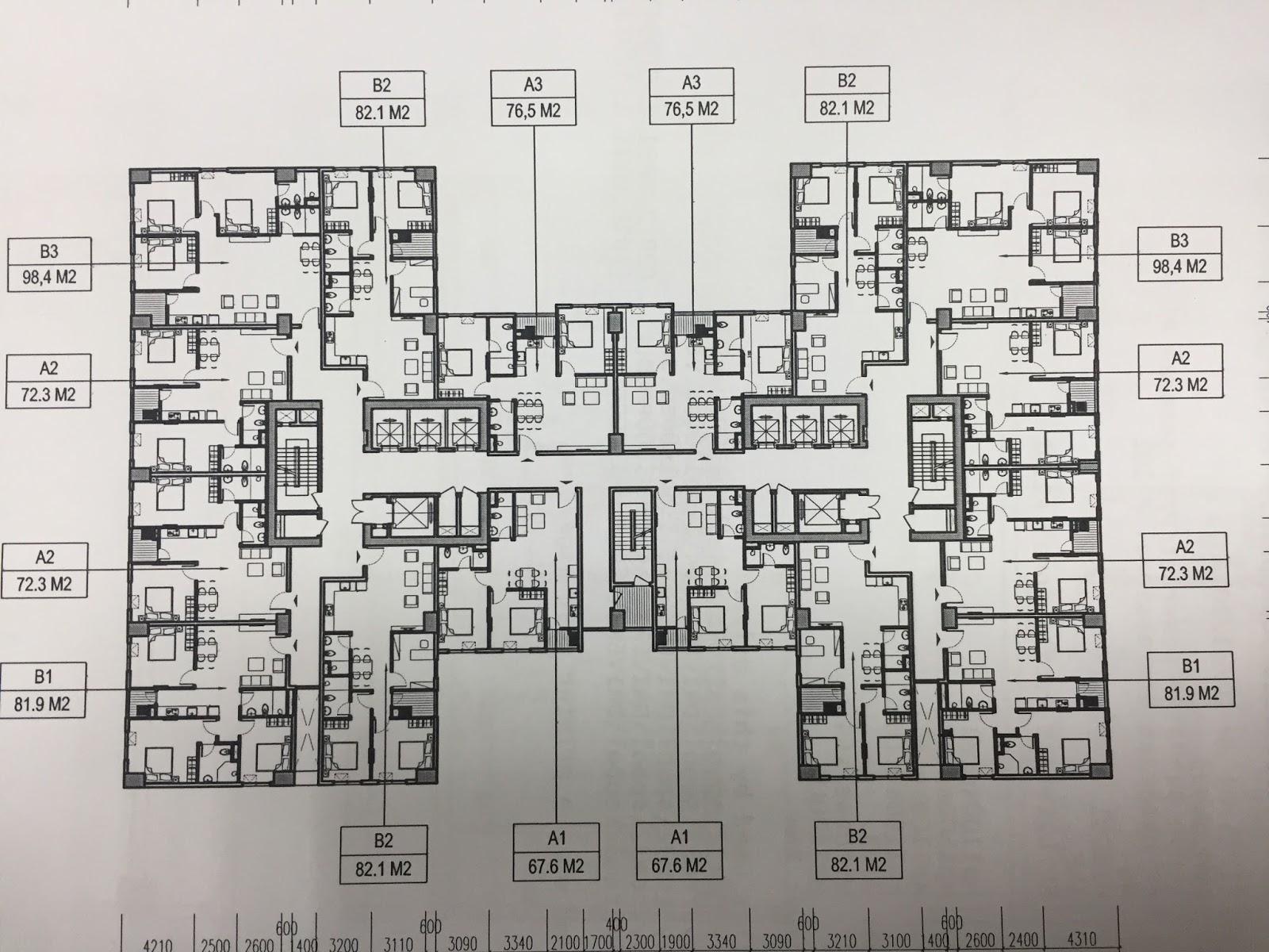 Mặt bằng tầng điển hình tòa CT1 – CT3 dự án Udic Westlake
