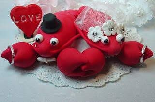 cute lobster wedding cake topper