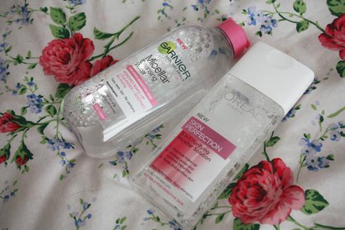 garnier micellar water and l'oreal skin perfection micellar solution on francescasophia.co.uk