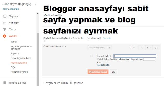 Blogger Sabit Anasayfa Oluşturma