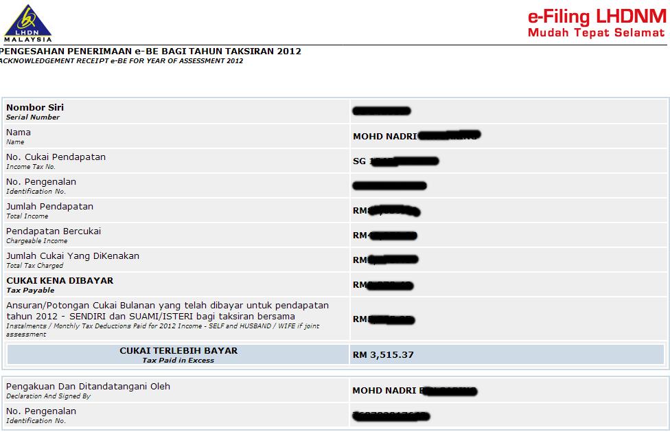 E-Filing Cukai Pendapatan 2012 ~ Ez Makan2 & Jalan2
