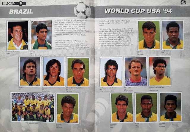WORLD CUP USA '94 STICKER ALBUM COLLECTION GROUP B BRAZIL