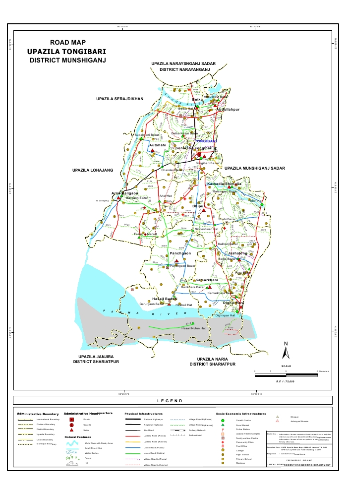 Tongibari Upazila Road Map Munshiganj District Bangladesh