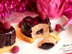 Coeurs de framboise et mousse au chocolat