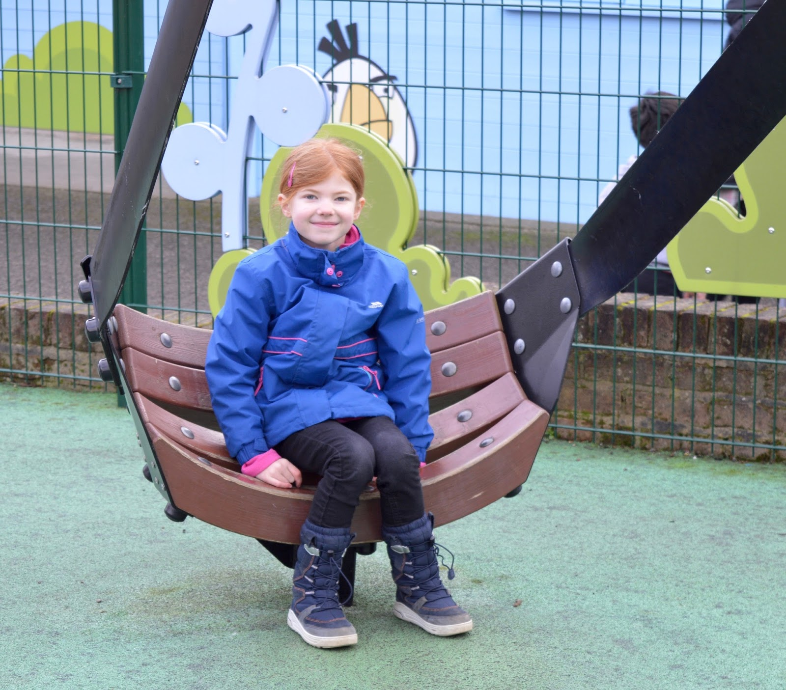 Visiting Angry Birds Activity Park at Lightwater Valley, North Yorkshire - sling shot seat