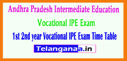 AP Intermediate 1st 2nd year Vocational IPE Exam Time Table