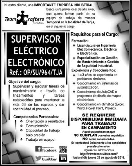Importante empresa industrial requiere Supervisor Eléctrico Electrónico