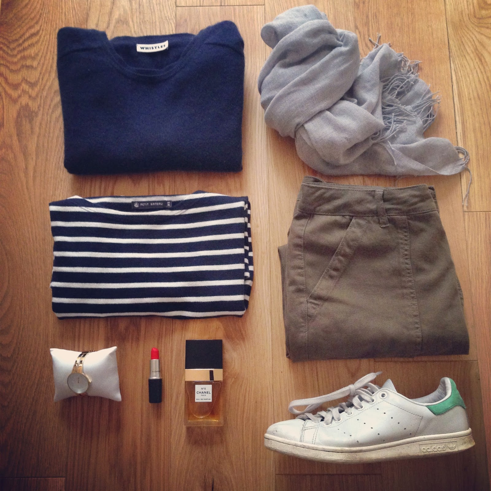 58bba8a5715 Cashmere Sweater  Whistles Breton Top  Petite Bateau Cashmere scarf  Uniqlo  Trousers  Topshop (link above) Trainers  Stan Smith Adidas Watch  Storm