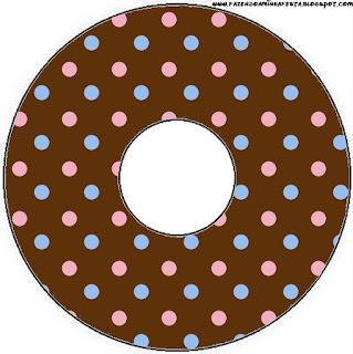 Etiquetas de Lunares Celeste y Rosa en Fondo Chocolate para CD's.