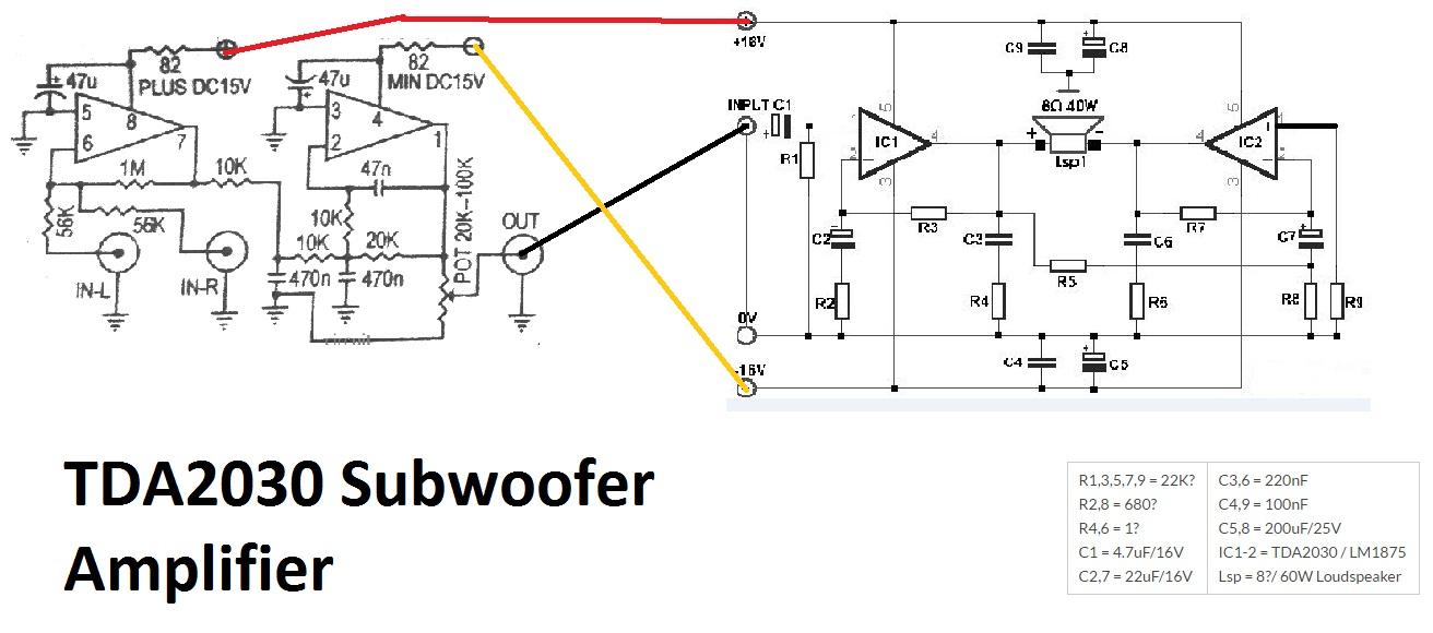 TDA2030 make for Subwoofer Amplifier Circuit Electronic Circuit