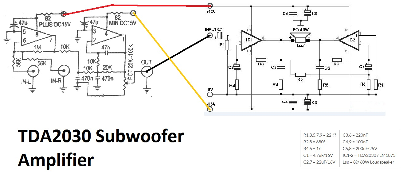 tda2030 make for subwoofer amplifier circuit electronic circuit car subwoofer diagram tda2030 make for subwoofer amplifier circuit
