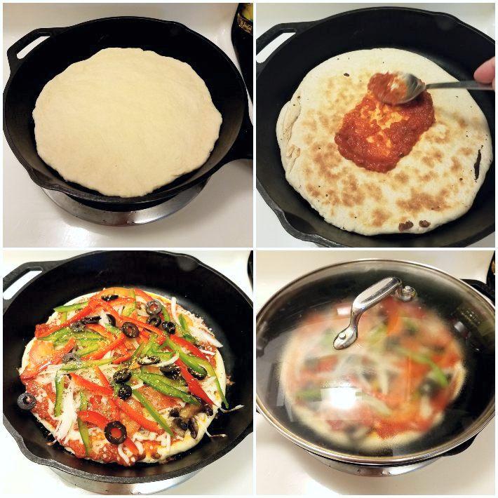 Cocción de la pizza en una sartén en la estufa, no requiere horno